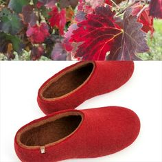 92c11f5d743d9 Burgundy reds take inspiration from the changing colors of the vineyards.  Wooppers handmade woolen slippers