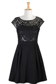 I <3 this Faux-leather applique illusion ponte dress from eShakti