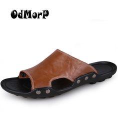 6f1c265381bb37 2017 Summer Shoes Men S Slippers Size 46 Beach Sandal Fashion Men Sandals  Leather Casual Shoes Flip