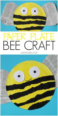 Paper Plate Bee {Torn Paper}, Paper plate bee craft for kids using torn paper and recycled paper, perfect for spring crafts or Earth Day crafts for kids Bee Crafts For Kids, Sun Crafts, Insect Crafts, Spring Crafts For Kids, Tree Crafts, Preschool Crafts, Preschool Themes, Toddler Crafts, Easter Crafts