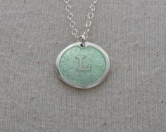 L Initial Necklace, Glass Enamel On Fine Silver, Sterling Silver Chain