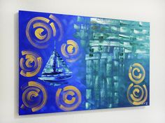 blue abstract painting for sale at laelanie art gallery Best Abstract Paintings, Abstract Art For Sale, Blue Abstract Painting, Paintings For Sale, Art In Miami, Nautical Art, Modern Art, American Art, New Art