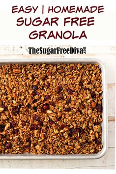 Homemade Sugar Free Granola - so yummy and so healthy too! Great recipe idea for breakfast or snack. Homemade Sugar Free Granola - so yummy and so healthy too! Great recipe idea for breakfast or snack. Low Carb Granola, Low Sugar Granola, Gluten Free Granola, Chocolate Granola, Sugar Free Snacks, Sugar Free Desserts, Sugar Free Recipes, Flour Recipes, Homemade Sugar Free Granola