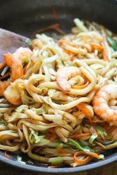 Delicious home-made stir-fried udon noodles with shrimp