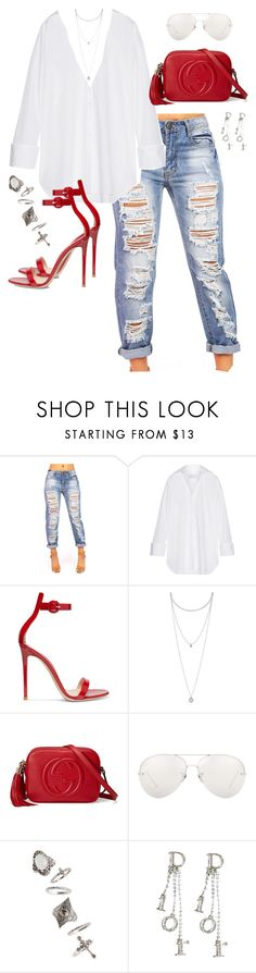 """""""Untitled #422"""" by katiemarte ❤ liked on Polyvore featuring Marques'Almeida, Gianvito Rossi, Lucky Brand, Gucci, Linda Farrow, Topshop and Christian Dior"""