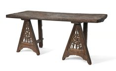 Thomas guild - medieval woodworking furniture and other crafts: Medieval trestles from the Musee des Arts Decoratifs and a painted table top Renaissance Furniture, Gothic Furniture, Wood Furniture, Antique Furniture, Furniture Stores, Medieval Life, Medieval Art, Medieval Houses, Medieval Bedroom