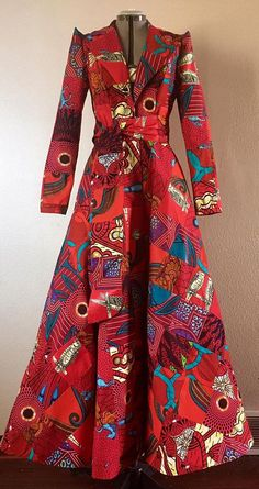 Rule in Red Glamorous African Print Patchwork Floor Length Coat in Fiery Ruby Reds Includes Pockets - African fashion African Print Dresses, African Fashion Dresses, African Attire, African Wear, African Dress, Fashion Outfits, Ankara Fashion, African Prints, African Style