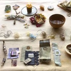 Roxanne Evans Stout-My worktable ready for filming Woven Wisdom Keepers