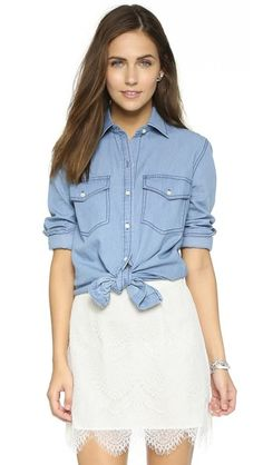 cupcakes and cashmere Golden State Button Up Blouse