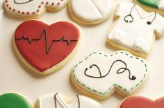 www.SoonerSugar.com, nursing cookies, christmas cookies, heart cookies, stethoscope cookies, scrubs cookies