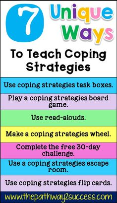 7 unique and interactive strategies for teaching coping skills to kids and teens Coping Skills List, Coping Skills Activities, Social Skills Lessons, Therapy Activities, Life Skills, Therapy Ideas, Emotions Activities, Therapy Worksheets, Counseling Activities