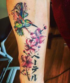 Tiger tattoo Hummingbird tattoo Cherry blossom tattoo