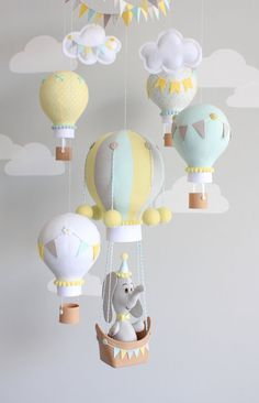 This article is not available- Hot Air Balloon Baby Mobile Elephant Nursery Decor image 3 - Shower Bebe, Baby Boy Shower, Balloon Decorations, Baby Shower Decorations, Elephant Nursery Decor, Elephant Mobile, Travel Theme Nursery, Baby Shower Balloons, Baby Balloon
