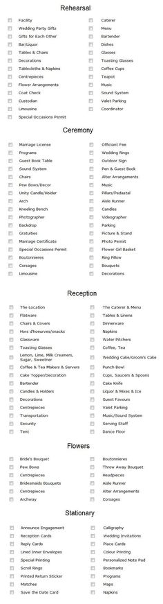 Detailed wedding checklist.