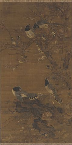 Magpies and Songbirds amid Early Summer Flowers  first-half 15th century    Bian Wenjin ca. 1356-after 1428)   Ming dynasty