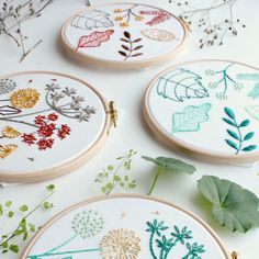 Leafy & Wild flower Stitch Samplers - the first 2 stitch sampler kits in a series of 4. They have been designed so that each leaf and wild flower is to be embroidered using a different stitch. Follow the guide and videos tutorials to build confidence one stitch at a time and end up with a sweet botanical piece of hoop art (AND super stitch powers of course).
