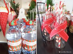 The decorated waters and bottles for children to drink matched the theme well.