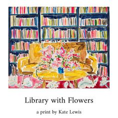 This is a horizontal print on lovely flat unstretched matte canvas and can be framed with or without glass.  This is a painting of my favorite things: flowers, books, and patterns!  I am pleased to offer a variety of standard sizes that will easily fit in an array of frame styles. Each is printed on premium canvas paper with archival ink. This image is available in four sizes: 5 x 7, 8 x 10, 11 x 14, and 16 x 20 inches.  Canvas Paper, Canvas Wall Art, Red Wallpaper, Art Inspo, Flower Art, Coloring Pages, Art Photography, Original Paintings, Illustration Art
