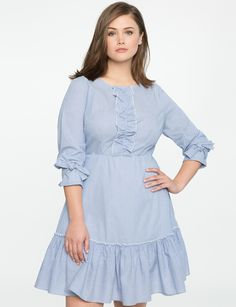 Fit and Flare Dress with Ruffle and Bow Detail | Women's Plus Size Dresses | ELOQUII