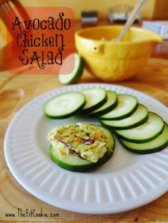 This Avocado Chicken Salad is one of the easiest and healthiest lunch recipes you can make! It's simple, gluten free, paleo, and free of sugars. Serve it in lettuce cups, on cucumber slices, or over your favorite healthy crackers - @TheFitCookie