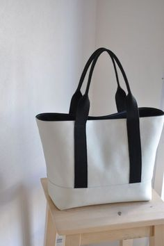 Canvas and Leather Tote, Natural - Bags - Totes + Handbags Tote Handbags, Purses And Handbags, Leather Handbags, Leather Wallets, Burberry Handbags, Plastic Shopping Bags, Denim Bag, Denim Jeans, Cloth Bags