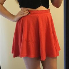 Free People Orange Cotton Jersey Skirt This super cute, comfy orange scarlett Free People circle skater skirt has pockets, a faux distressed lining, and is cotton jersey size small. Free People Skirts Circle & Skater