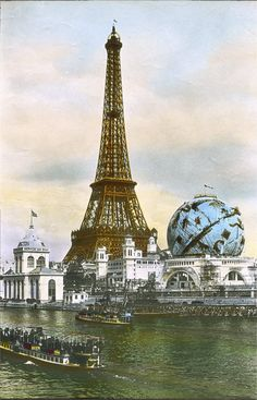 Le Globe Celeste, Paris, 1900. - One of the great icons of the 1900 Paris Exposition Universelle was the striking image of Le Globe Celeste - the Celestial Globe - against the Eiffel Tower.