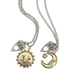 Ouija Sun Moon Necklace 2 Pack Hot Topic ($6.37) ❤ liked on Polyvore featuring jewelry and necklaces