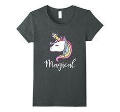 Womens Pastel Unicorn Magical Rainbow Shirt Small Dark He...