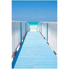 Tableau en bois cadre blanc motif plage et ponton bleu film mat 60x90cm SEASIDE CM Création port offert