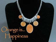 Orange Statement Necklace, orange bib necklace statement, orange necklace, fashion necklace