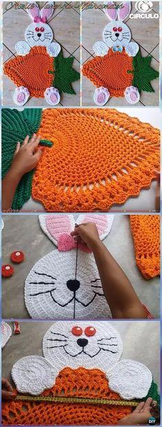 Crochet Amigurumi Rabbit Ideas Crochet Bunny with Carrot Rug Free Pattern [Video] - Crochet Area Rug Ideas Free Patterns Beau Crochet, Crochet Mignon, Crochet Diy, Crochet Bunny, Crochet Gifts, Crochet Rugs, Crochet Doilies, Crochet Ideas, Crochet Simple