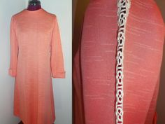 1960s Vintage Cut Out Lace Sleeve Peach Dress by TabbysVintageShop, $16.99