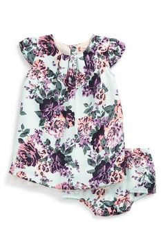 Ruby & Bloom Floral Print Cap Sleeve Satin Dress (Baby Girls) available at #Nordstrom