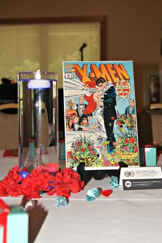 Love the idea of different weddings in comics as table numbers