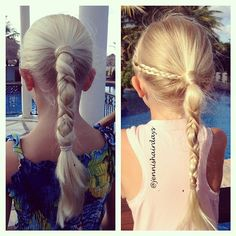 Two versions of the same braid on my girls today. Can't remember where I've seen this or what it's called! #ponytail #mexico #instabraid #instahair #braidphotos #braidposts #braidsforgirls