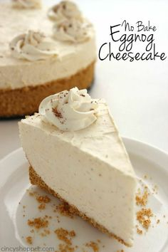 No-Bake Eggnog Cheesecake is so easy to make! - - If you are needing a holiday dessert that is easy and delicious, you will want to whip up this No Bake Eggnog Cheesecake. You will find the recipe super simple and your holiday guests (even the ones w. Mini Desserts, Desserts For A Crowd, No Bake Desserts, Just Desserts, Delicious Desserts, Cherry Desserts, Easter Desserts, Baking Desserts, Holiday Baking