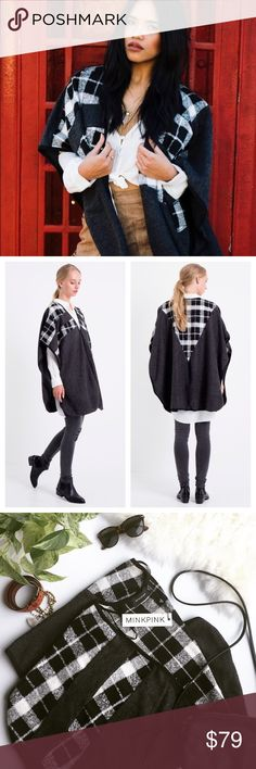 MINKPINK Just Charming Poncho Throw on this poncho by Mink Pink, pair with booties and ripped jeans for a casual chic fall look! Poncho has a V-neckline, top is decorated with a Scotch print and finished with piping. Perfect for fall & winter weather! MINKPINK Sweaters Shrugs & Ponchos
