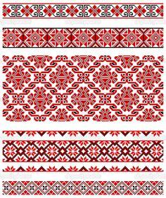 Ilustraciones vectoriales de ornamentos bordados ucranianos, patrones, Marcos y fronteras