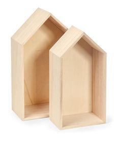 """Häuser-Regalbox """"Living Home"""" - aus Holz als Wand- oder Regaldeko"""