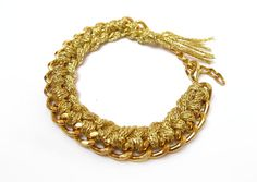 Gold woven chain bracelet arm candy by StoreV on Etsy