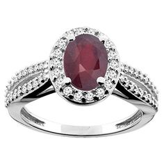 10K White/Yellow/Rose Gold Natural HQ Ruby Ring Oval 8x6mm Diamond Accent, sizes 5 - 10