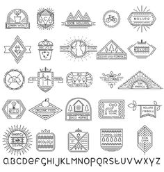 Set of thin linear ecology labels and font vector - by 0mela on VectorStock®