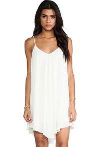 White Spaghetti Strap Backless Loose Dress