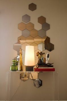 Hexagon Hexangonal Mirror Tiles & Mosaic Mirrored Tiles Statement Wall Bathroom | eBay