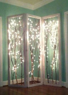 Fairy lit twigs. Adds light to corners. rustic look I love - FUN DIY PROJECT!!!!