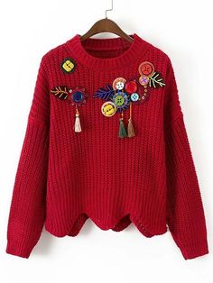 OMCHION Pull Femme 2017 Autumn Winter Women Sweaters And Pullover Tassel Beading Red Christmas Sweater Casual Wave Jumper Red Sweaters, Pullover Sweaters, Sweaters For Women, Western Dresses For Girl, Woolen Tops, Embroidery On Clothes, Black Wool Coat, Scalloped Hem, Long Sleeve Sweater