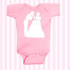 Cinderella and Prince Charming Disney Themed Pi  nk with white font by SimplyBaby