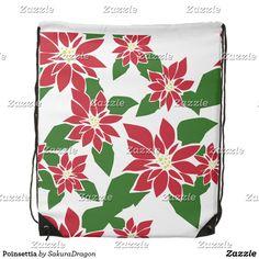 Poinsettia Drawstring Backpack #flowers #christmas #holidays plants #poinsettia