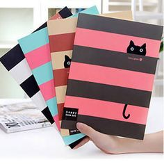 diary notebook on sale at reasonable prices, buy Kawaii Little Cat Striped Print Cover Notebook Exercise Book Diary Notebook Gift Stationery FOD from mobile site on Aliexpress Now! Cute Notebooks For School, Creative Notebooks, Notebook Cover Design, Notebook Covers, School Book Covers, Diary Book, Diary Notebook, Cat Diary, Diy Back To School